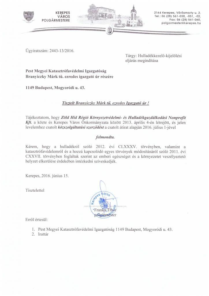 Polgármester úr levele a Katasztrófavédelemhez